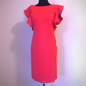 Halston Red Dress with Ruffle sleeve.